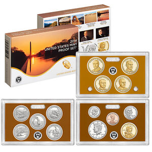 2014 S United States Mint Proof Set Cameo 14 Pc Coins Kennedy ATB $1 Dime Penny