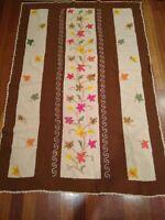 "VTG Afghan Fall Leaves Pattern UNIQUE rare crochet 45x66"" throw blanket tan"