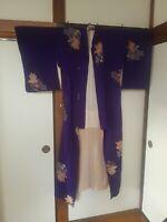 Original Kimono lila mit Rosen aus Japan
