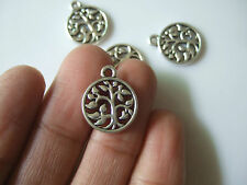 20 Tibetan Silver Tree Round Charms Pendants Jewellery Making Pagan Gothic Wicca