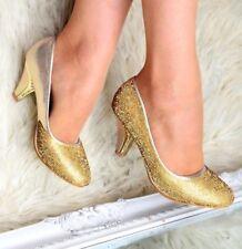 Señoras Oro Tacón Medio Diamante Zapatos De Noche Boda Dama De Honor resbalón en el tamaño del zapato