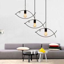 Vintage Fish Frame Metal Pendant Lamps Iron Ceiling Light Fixtures Kitchen Decor
