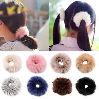New Women Girls Fluffy Faux Fur Furry Scrunchie Elastic Hair Ring Rope Band Sy