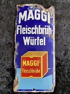 Maggi Türschild Emailschild um 1920 Maggis Fleichbrühwürfel Fleischbrühe Schild