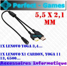 adaptateur cable Y alimentation 5.5X2.1mm LENOVO X1 Carbon YOGA 11 13 YOGA 3 4