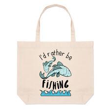 Prefiero ser la pesca Bolso Playa Grande-Divertido Deporte Peces Hombro Shopper