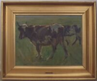 ORIGINAL EARLY 20TH CENTURY  OIL  PAINTING, GRAZING COWS AT SEASIDE BY N P MOLS