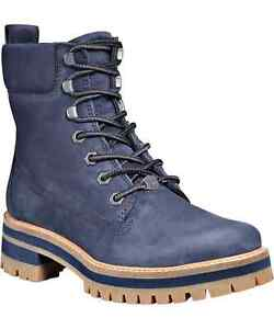 Timberland Women's Blue Leather Courmayeur Valley Lug Sole Boots - 7 - Blue
