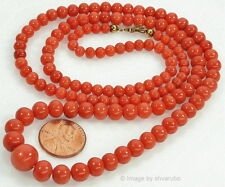 ANTIQUE VICTORIAN UNDYED SALMON CORAL BEAD NECKLACE 12K CLASP