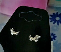 Tiny SOLID 925 Sterling Silver Dachshund Doggie Stud Earrings + Pouch $14 VALUE!