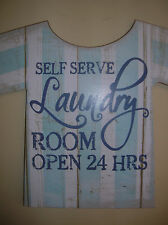 WOODEN BLUE AND WHITE LAUNDRY ROOM SELF SERVE WALL SIGN PLAQUE