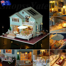 AU Wooden Doll House Vintage Cottage Kit Wood Dollhouse DIY Girls Queen's Town