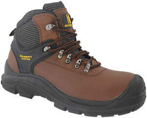 MENS brown  LEATHER  STEEL TOE CAP SAFETY WORK ANKLE HIKER SHOES BOOTS size 9