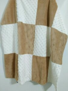 Kyle & Deena Minky Dot Brown White Baby Blanket Patchwork Plush 29 x 30