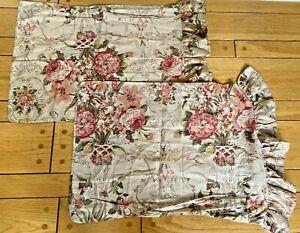 Ralph Lauren Pair(2)Guinevere Floral Standard Pillowcases Ruffled Edge EXCELLENT