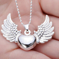 Fashion Women Silver Plated Heart Angel Wing Charms Pendant Bead Chain Necklace