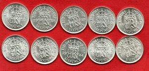 10 SILVER SIXPENCE COINS, KING GEORGE VI. 1937 - 1946. IN HIGH GRADE. JOB LOT.