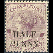 MAURITIUS 1876 0.5d on 9d Dull Purple. SG 76. Lightly Hinged Mint. (AR164)