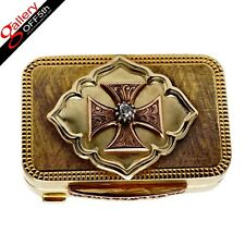 Russian Imperial Faberge 18K Gold 72 Diamond Ruby St George Cross Snuff Pill Box