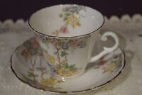 VINTAGE WELLINGTON CHINA ENGLAND TEA CUP AND SAUCER FLORAL ON WHITE