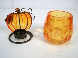 Orange Halloween Pumpkin Candle Holders Small Medium