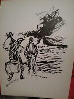 stampa in litografia originale anni 50 RENATO GUTTUSO emigrazione disoccupazione