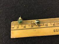 14K Yellow Gold 6.0mm Chinese Jade Stud Earrings 1.4 Grams Hallmarked