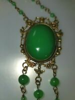 1920s Vintage Art Deco Czech Chrysoprase Green Glass Beaded & Brass Necklace
