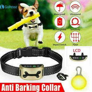 Dog Anti Bark Collar Stop Barking Rechargeable Sound & Vibration Strap LED Light
