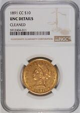 1891-CC $10 Liberty Head Gold Eagle Coin NGC UNC Details **Carson City**