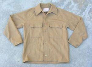Vintage Filson Virgin Wool shirt Men's Sz Medium Hunting khaki