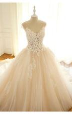 2018 Tüll Brautkleid Hochzeitskleild Kurzarm mit Schleppe Blüten Champagner Weiß