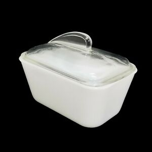 Vintage Glasbake Loaf Pan 1 1/2 Quart J-805 Clear Shark Fin Lid Milk Glass MCM
