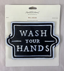 "Hearth & Hand With Magnolia ""Wash Your Hands"" Metal Bathroom Wall Sign Decor New"