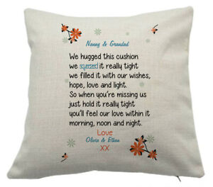Personalised Cuddle Hug Cushion Cover Nan Nanny Grandad Auntie Christmas Gift