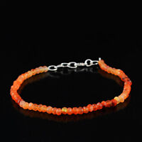 30.00 Cts Natural Orange Carnelian Round Shape Faceted Beads Bracelet (RS)