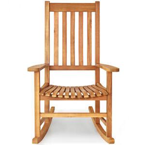 Wooden Rocking Chair Porch Rocker High Back Garden Seat Yard Home Teak