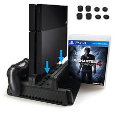 PS4 Vertical Stand Controller Charging Station Dock w/ Cooling Fan Game Storage