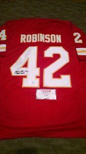 JOHNNY ROBINSON signed jersey Kansas City Chiefs w/ HOF 19 Insc. Tristar Cert.