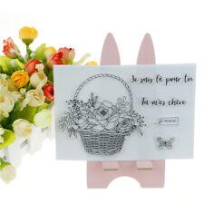 Flower Basket Scrapbook Photo Album Cards Transparent Silicone Rubber Stamps Sa