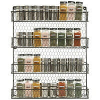 4-Wall Mount 4 Tier Spice Jar Rack Organizer Pantry Kitchen Cabinet Storage Hold