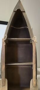 """Vintage Wood Canoe Shelf 22"""" x 8.5"""" with attached Oars Home Table Top Decor"""