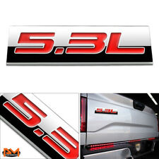 """5.3L"" Polished Metal 3D Decal Red Emblem Exterior Sticker For GMC/Chevrolet"