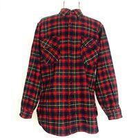 PENDLETON size M/S Vintage Virgin Wool Plaid Red Green Men Board Shirt button-up