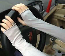 Women Stretchy Long Sleeve Fingerless Gloves Cashmere Blend Arm Warmers Sleeves