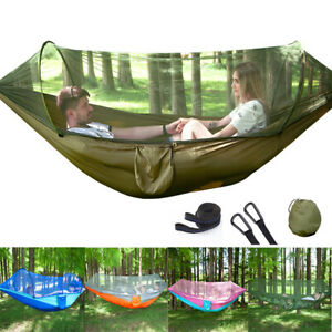Portable Outdoor Garden Hammock 2 Person Camping Hanging Travel w/ Mosquito Net