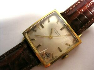Rare Vintage Junghans Square 1950s  Mens Gold Plated Date 17j Watch Cal 687