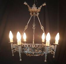 ANTIQUE FRENCH CHANDELIER WROUGHT IRON ART NOUVEAU SIGNED JEAN KEPPEL *REDUCED*