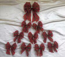 10 tartan rosso con bordi cablata in oro e gemme di diamante, fiocchi Albero Natale, fiocchi regalo