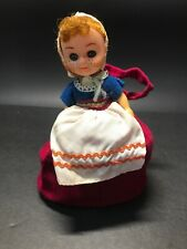 Vintage Christmas Girl Doll Paper Bottom Weighted Bottom
